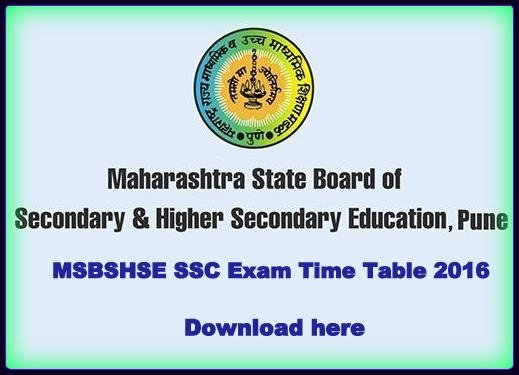 Maharashtra board class 10th ssc exams time table 2016 for 10th time table 2016